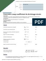 Calculation of concrete creep coefficient & shrinkage strain - Eurocode 2