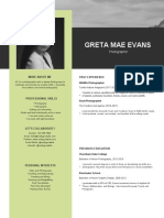 Black and Yellow with Image Photography Photo Resume
