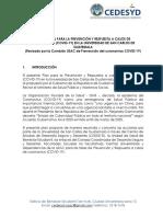 PLAN INICIAL PREVENCIÓN Y RESPUESTA A CASOS DE CORONAVIRUS COVID-19 EN USAC