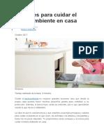 Acciones para cuidar el medioambiente en casa