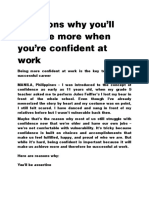 5 reasons why you are confident at work