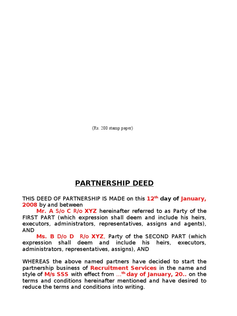 62 sample partnership deed partnership business law thecheapjerseys Images