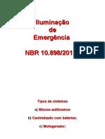 ILUMINAÇÃO DE EMERGÊNCIA NBR 10898.ppt