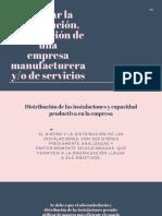 Diseñar la distribución, localización de una empresa manufacturera y_o de servicios