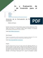 Formulación y Evaluación de Proyectos de Inversión para el Sector Rural