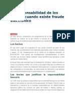 La Responsabilidad de Los Bancos Cuando Existe Fraude Electrónico