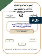 PROGRAMME D ETUDES Maintenance des équipements De Froid et Climatisation Code _ ELE0714