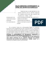 ACTA DE MATERIALES SOBRANTES E INTERNAMIENTO  AL ALMACEN CENTRAL DEL DISTRITO DE HUARICOLCA