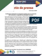 Suspenden clases en Rionegro tras primer caso de COVID-19