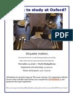 Career Center Etiquette Dinner flier for Oxford students