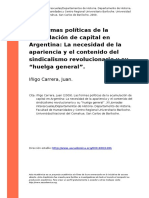 Inigo Carrera, Juan (2009). Las Formas Politicas de La Acumulacion de Capital en Argentina La Necesidad de La Apariencia y El Contenido d (..)