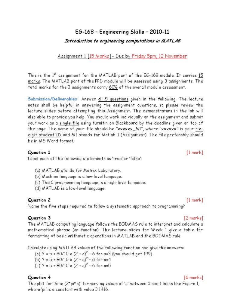 Assignment1_EG168MATLAB(1) | Pi | Function (Mathematics)