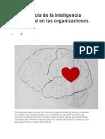 Importancia de la inteligencia emocional en las organizaciones