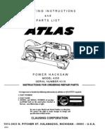 Atlas 4350 Hacksaw Manual