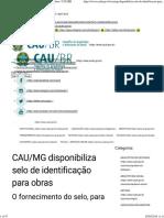 CAU_MG disponibiliza selo de identificação para obras _ CAU_BR