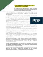 RELACIÓN DEL COMPORTAMIENTO ORGANIZACIONAL CON LA ORGANIZACIÓN Y SU ENTORNO