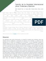 Declaración de posición de la sociedad internacional de nutrición deportiva
