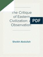 The Critique of Eastern Civilization