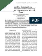 M. Pengaruh Etos Kerja dan Gaya Kepemimpinan Transaksional Terhadap Produktivitas Kerja Karyawan PT. XYZ, Gresik