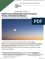 Habrá una conjunción entre la Luna y Venus a finales de febrero - National Geographic en Español