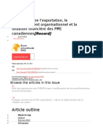 Relations entre l'exportation, le développement organisationnel et la situation financière des PME
