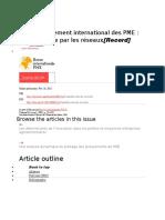 Le développement international des PME une approche par les réseaux