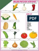 vegetables vocabulary esl matching exercise worksheets for kids