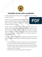 Statement on the Covid 19 Pandemic