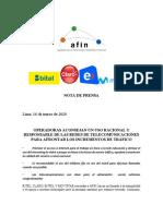 Nota de Prensa Sobre Uso Racional Telecom