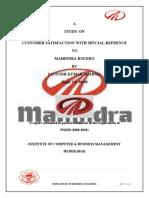 SAGAR Project Report on Customer Satisfaction in M M