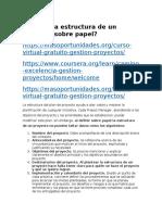 Cuál es la estructura de un proyecto sobre papel