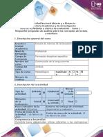 Guía de actividades y rúbrica de evaluación - Tarea 1 - Responder preguntas de análisis sobre los conceptos de lectura y escritura