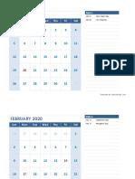 2020 Monthly Calendar Landscape 04