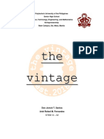 The Vintage (A Sample Business Plan Draft)