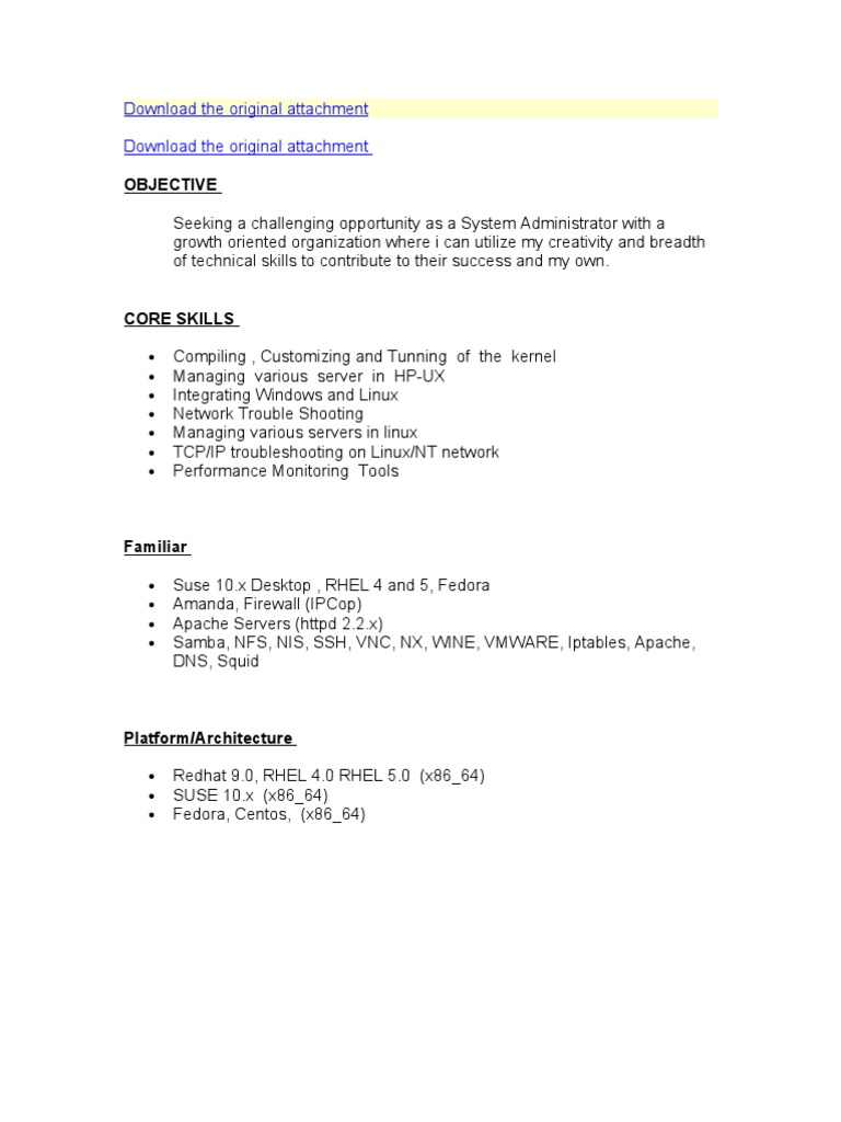 sample resume for system administrator linux fresher format - Linux System Administration Sample Resume