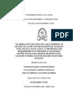 Elaboración de mapa de características geotécnicas de los municipios de Antiguo Cuscatlán y Santa Tecla y Propuesta de requerimientos mínimos en estudios geotécnicos para muros de retención, taludes y edificaciones de menos de ....pdf