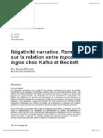 Négativité narrative. Remarques sur la relation entre topos et logos chez Kafka et Beckett