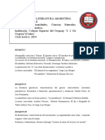 Programa Literatura Argentina 6º 2016