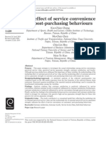 The Effects of Service Convenience on Post Purchasing Behaviours