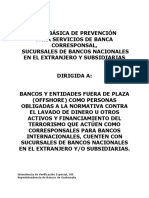 Guía Básica de Prevención para Servicios de Banca Corresponsal, Sucursales de Bancos Nacionales en el Extranjero y Subsidiarias