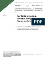 Por falta de agua, vecinos bloquean Canal de Miramontes