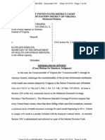 Cuccinelli v Sebelius - Memorandum Granting Motion for Summary Judgment 12-13-2010