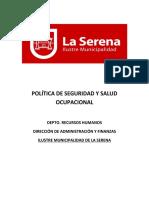 POLITICA SSO I. MUNICIPALIDAD DE LA SERENA 2019