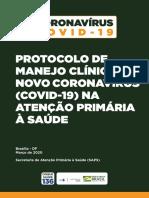 Protocolo de Manejo Clínico do novo Coronavírus