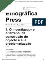 1. O investigador e o terreno_ da construção do objecto à sua problematização - Etnográfica Press.pdf