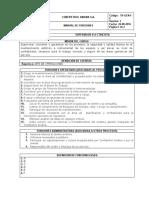 Manual de funciones - Supervisor Electricista 2016