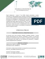 Comunicado II Comfacasanare COVID-19