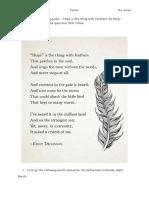 hope - poetry tasks