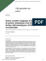 Entre recette magique d'Al-Bûnî et prière islamique d'al-Ghazali_ textes talismaniques d'Afrique occidentale_.pdf