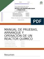 MANUAL DE PRUEBAS, ARRANQUE Y OPERACIÓN reactor
